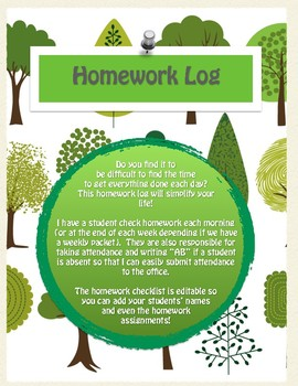 EDITABLE Homework Checklist