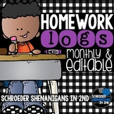 Homework Log  - Editable and monthly