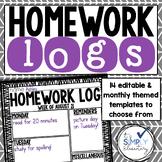 Homework Log  - Editable and monthly
