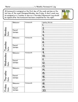 Homework Log-Pirate Theme