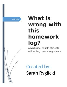 Homework Log Practice Worksheet