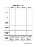 Homework Log / Reading Log