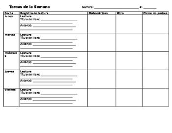 Homework Log (Spanish)