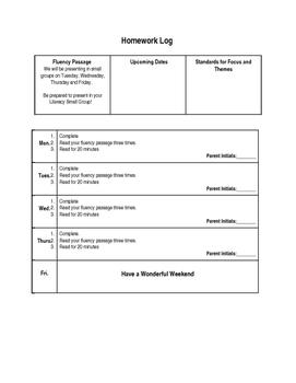 Homework Log Template (Editable)