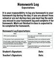 Homework Log Workbook - Marking and Expectation File