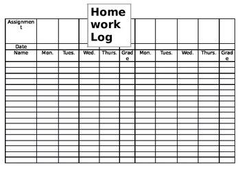 Homework Log for Teachers