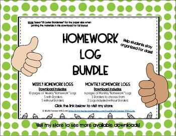 Homework Log BUNDLE (includes variation of borders and borderless options)