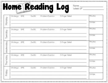 Homework Logs {Math and Reading}