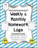 Homework Logs Monthly and Weekly BUNDLE Border Variety