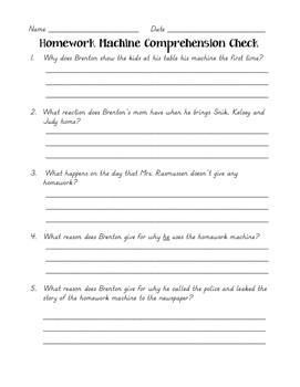 Homework Machine Comprehension Check