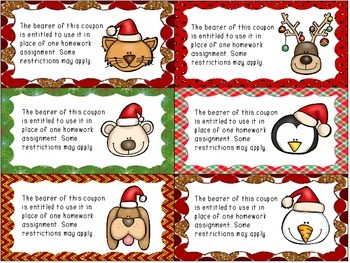 Homework Management System Christmas Theme (Cards, Brag Tags, Coupons)