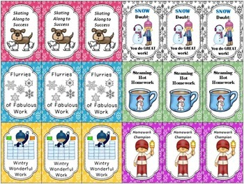 Homework Management System Winter Theme (Cards, Brag Tags, Coupons)