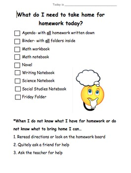 Homework Materials Checklist