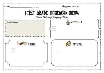 Homework Menu - A structured way to offer choice