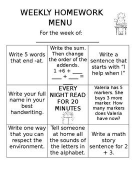 Homework Menu Editable