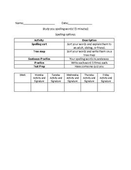 Homework Menu/Spelling Menu