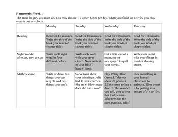 Homework Menu Week 1-3 for 1st graders