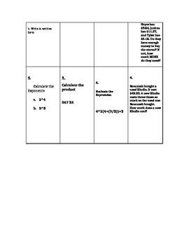Homework Menu board over Order of Operations and basic computations
