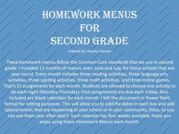 Homework Menus for 12 Months (editable)