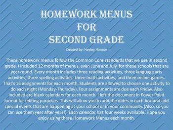 Homework Menus for 12 Months (editable)