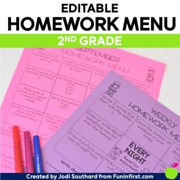 Homework Menus for the Entire Year {EDITABLE} 2nd Grade