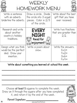 Homework Menus for the Entire Year {EDITABLE} 2nd Grade