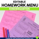 Homework Menus for the Entire Year {EDITABLE} Kindergarten