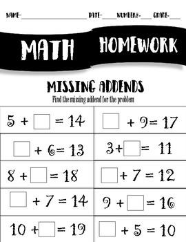Homework- Missing Addends