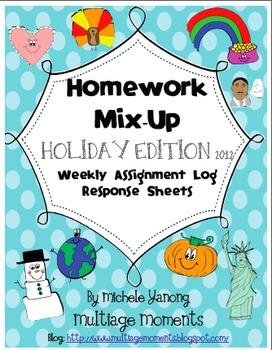 Homework Mix-Up - Holiday 2012 Edition - Assignment Log Response Sheets