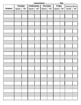 Homework Monitor Sheet