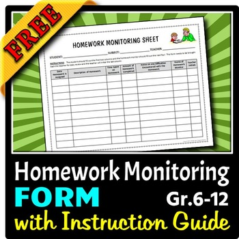Homework Monitoring Form for Middle School and High School {Free}