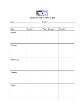 Homework Monitoring Sheet