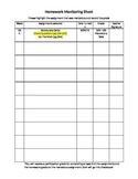 Homework Monitoring Sheet
