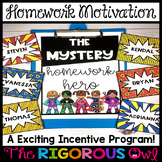 Homework Motivation and Incentive: The Mystery Homework Hero EDITABLE