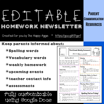 Editable Homework Newsletter