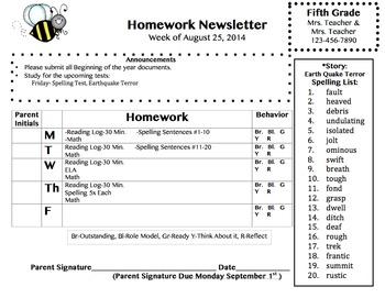 Homework Newsletter Behavior Announcements