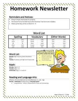 Homework Newsletter Template