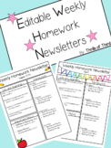 Homework Newsletters-Editable