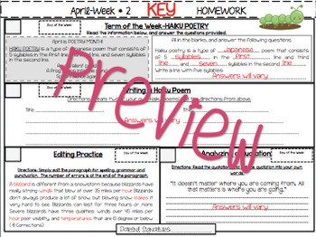 NO PREP Homework {April}:Idioms, Quotations, Words in Context, Editing