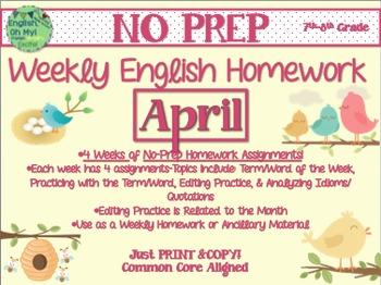 NO PREP Homework {April}:Idioms, Quotations, Words in Cont