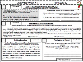 NO PREP Homework {December}: Idioms, Quotations, Words in Context, Editing