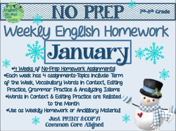 NO PREP Homework {January}: Idioms, Quotations, Words in Context, Editing