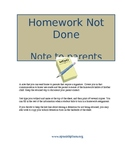 Homework Not Done Note to Parents