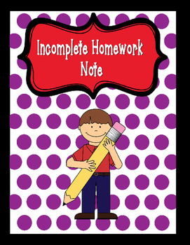 Incomplete Homework Note for Parents
