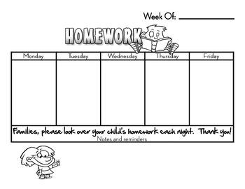 Homework Note Blank Template Weekly
