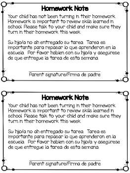 Homework Note English and Spanish