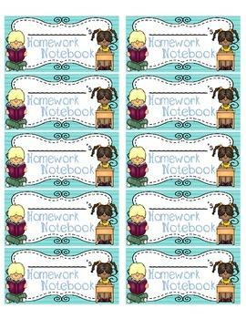 Homework Notebook Labels