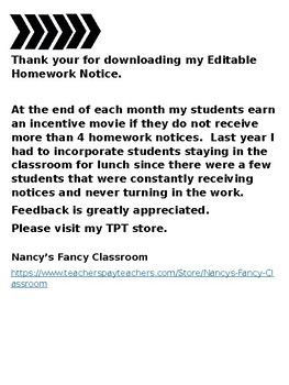 Homework Notice (Editable)