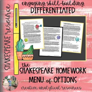 Homework Options Menu - Shakespeare