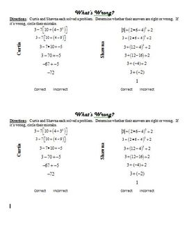 Homework - Order of Operations (GEMDAS)